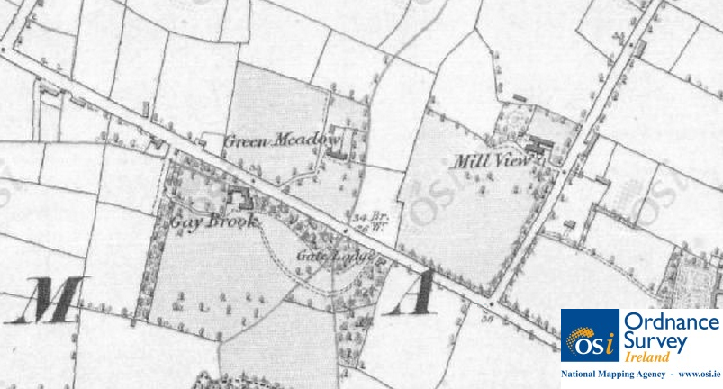 Greenmeadow and Gay Brook houses shown on OSI Historic 6″ Map of Yellow Walls (completed between 1829 and 1842). © Ordnance Survey Ireland/Government of Ireland.7