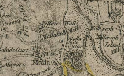 Rocque's 1762 Map of County Dublin showing Yellow Walls