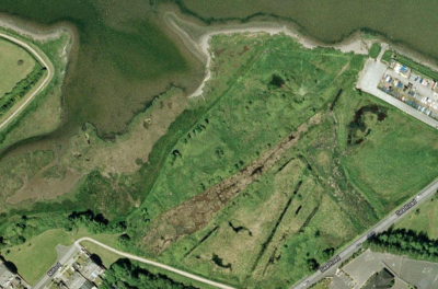 Present day - water channels that surrounded the island are now silted up