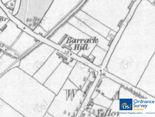 "The Barracks at ""Barrack Hill"", mid-1800s. © Ordnance Survey Ireland/Government of Ireland.10"