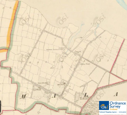 "Yellow Walls Townland shown in 6"" ordnance survey map, mid-19th Century. © Ordnance Survey Ireland/Government of Ireland.7"