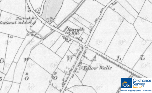 6 inch map of Yellow Walls showing buildings along Millview Road. © Ordnance Survey Ireland/Government of Ireland.<sup>5</sup>