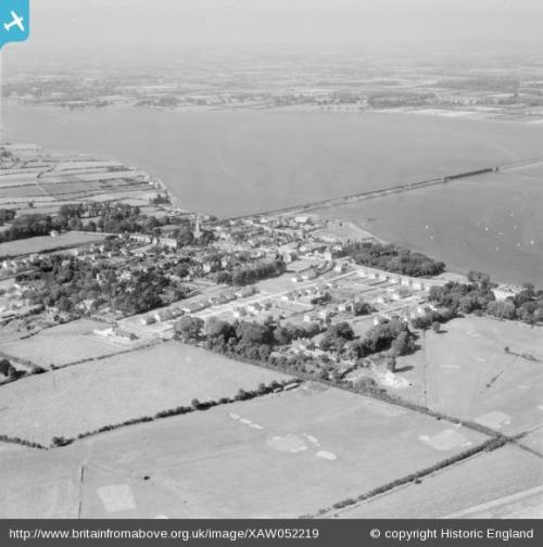 Aerial view of Malahide from 1953 - the top left of the photograph shows part of Yellow Walls as farmland.