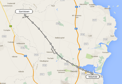 Possible route of the Malahide to Garristown railway, proposed in 1897