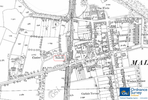 La Mancha, late 19th Century. The avenue of trees running away from the house leads to a tree-topped mound at the top of the map (encircled). The remains of this mound are visible today in the Ard Na Mara estate. © Ordnance Survey Ireland/Government of Ireland.5